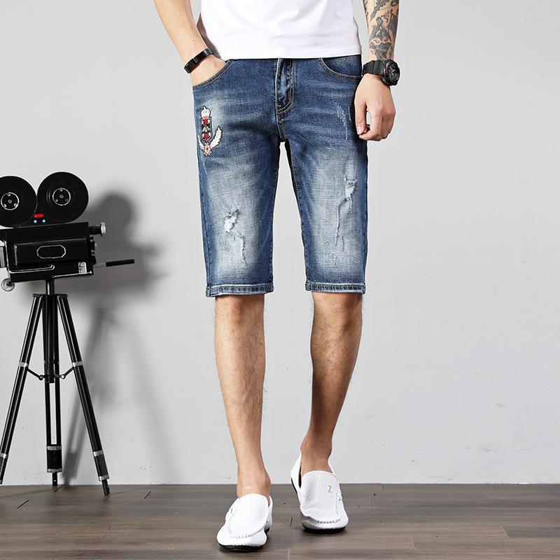 Denim Jeans Men Verão Shorts Biker Jeans Men Patches afligido azul Casual Slim Fit para denim stretch