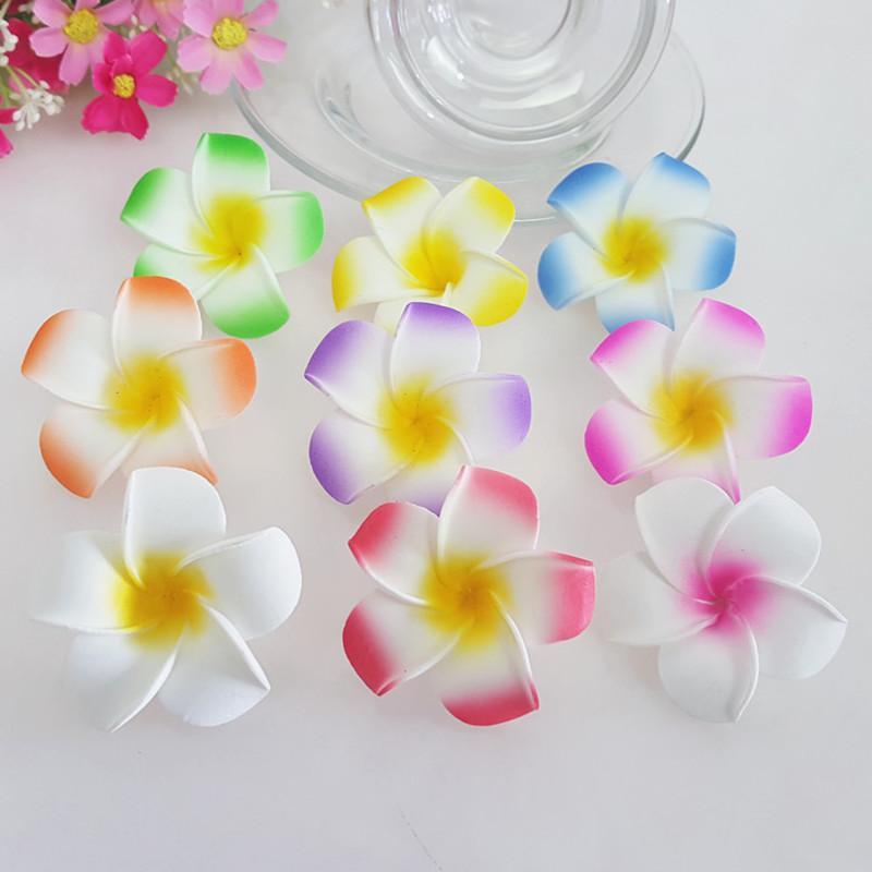 100pcs 5CM 6cm 8Colors hawaiische 5colors reale Note künstliche Plumeriablume DIY Haarzusatz pe frangipani Hochzeitsfestdekoration
