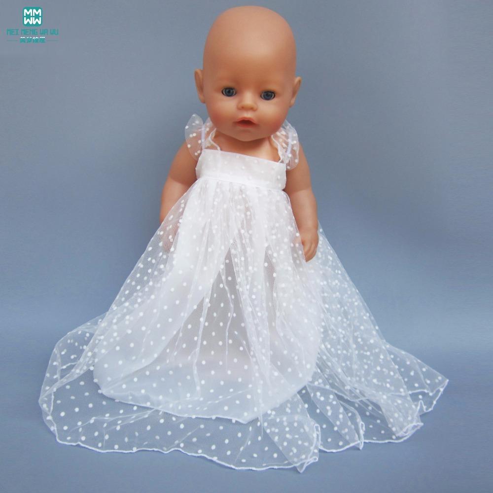 Compre Ropa De Muñecas Adecuada Para Accesorios Para Muñecas Baby De 43 Cm Y Vestido De Niña De 18 Pulgadas Falda De Gasa Blanca Vestido De Princesa A