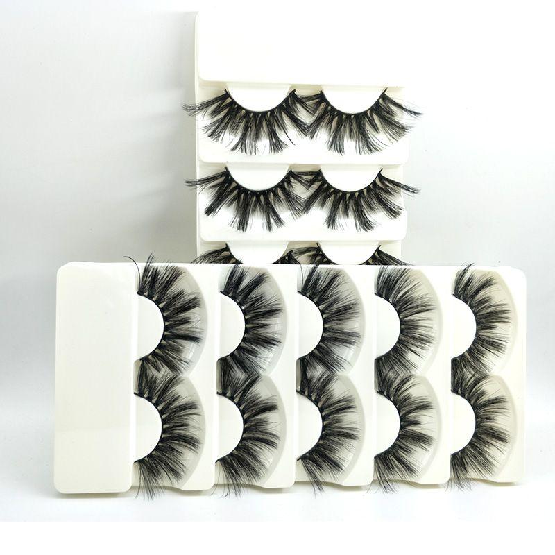 2503 5 Pairs Faux Mink Hair False Eyelashes Wispy Fluffy Crisscross Natural Long Lashes Handmade Eye Makeup Extension Tools