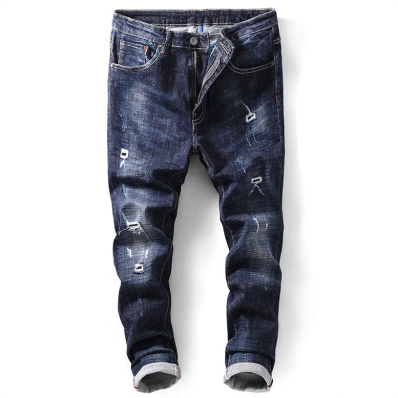 Jeans Männer 2018 Fashion Hole Washed Slim Stretching Fashion Hosen / Jugend Trends Harlan Füße Jeans 34 36