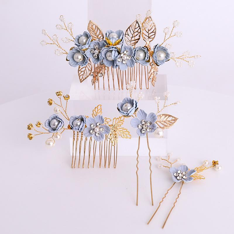 Headwear Blue Flower hair comb hairpin set Hot insert comb brides headwear child performance hair jewelry