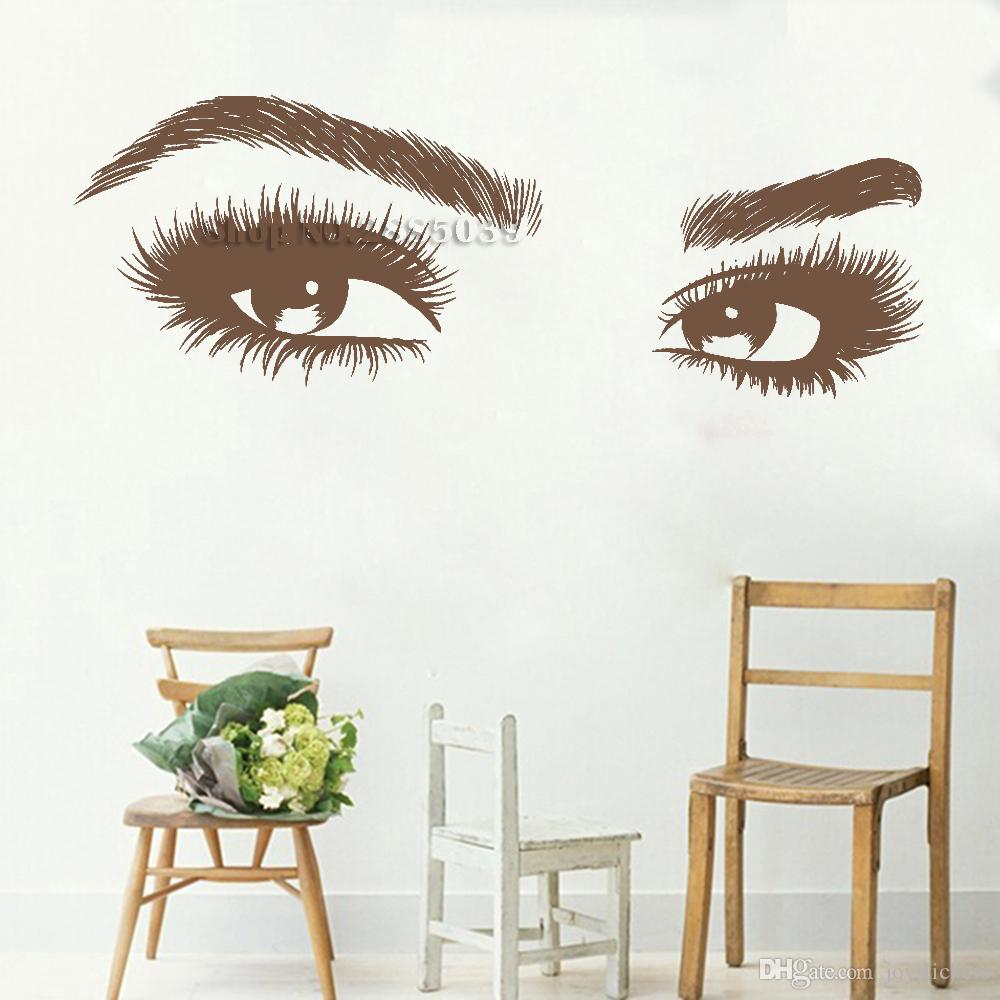 وصول جديدة كبيرة العين الرموش ملصقات الحائط جميلة الفتيات عيون الشارات الفن الفينيل ديكور المنزل الجمال صالون نمط مائي الساخن