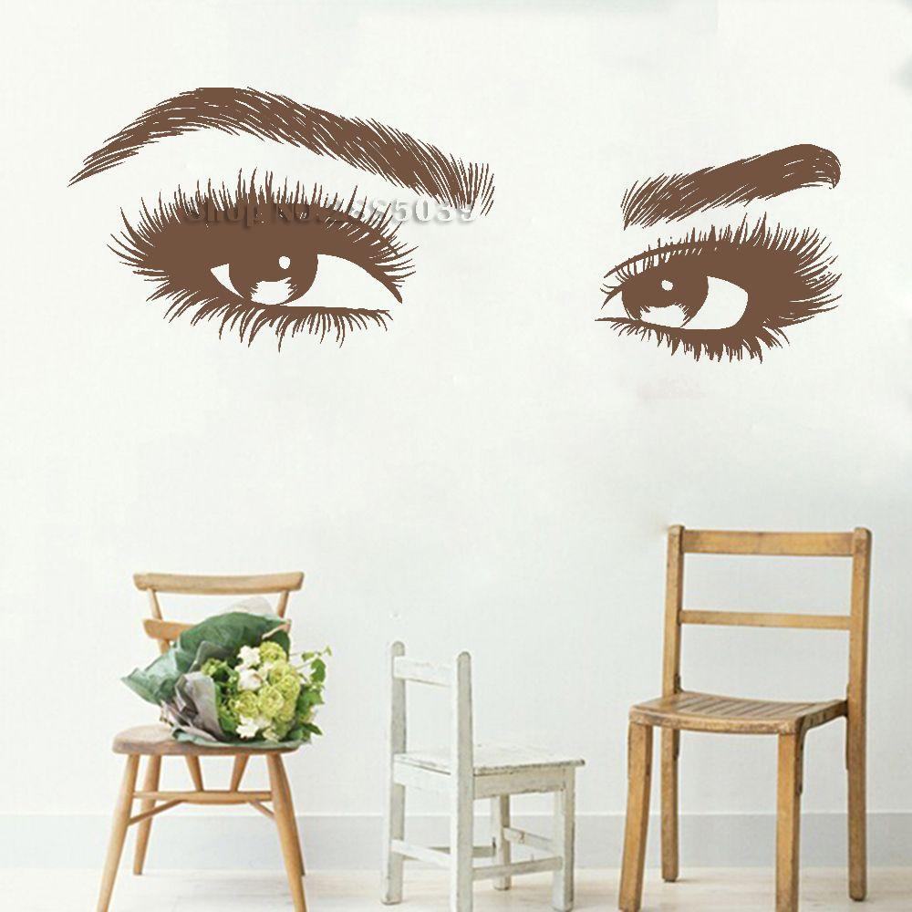 New Arrivals Big Eye Eyelashes Wall Stickers Beautiful Girls Eyes Decals Art Vinyl Home Decor Beauty Salon Style Decal Hot
