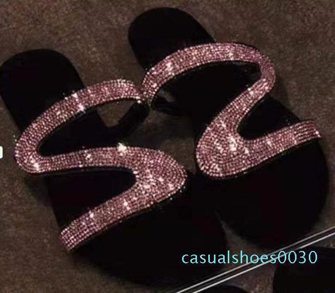 Diamante apartamentos sandálias Slides Verão Designer Luxury Beach Indoor Plano G sapatos de marca das sandálias Casa Flip Flops com Spike sandália c30