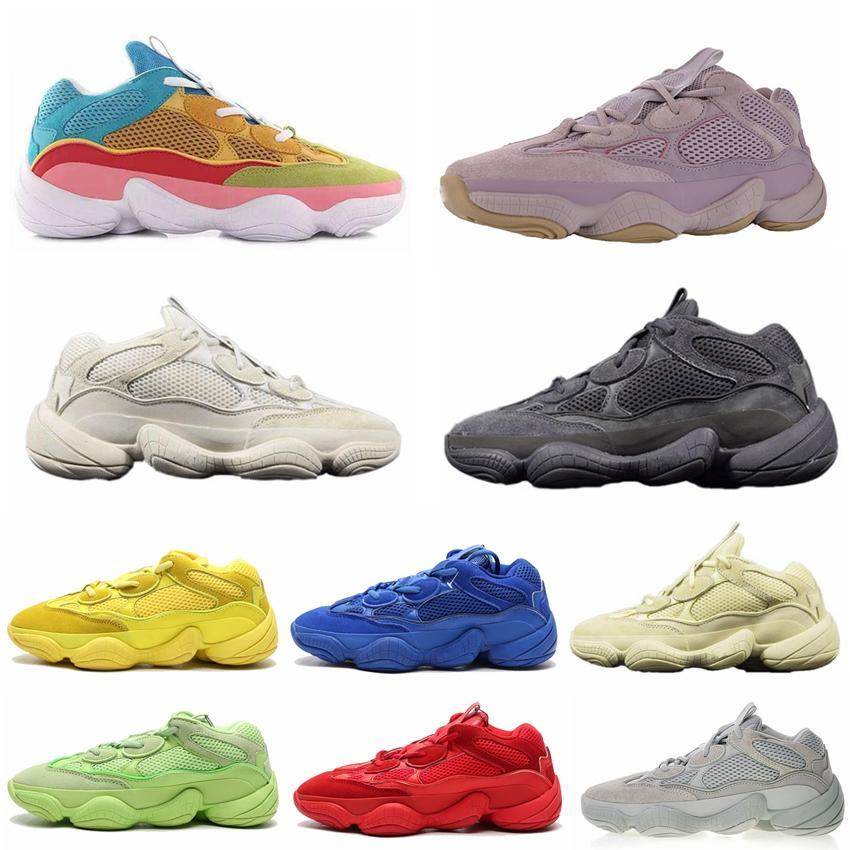 2020 Soft Vision Running Shoes 500 Piedra hueso blanco Kanye West para mujer para hombre Súper Luna Amarillo Negro Utilitarios Blush sal Hombres Deportes zapatillas de deporte