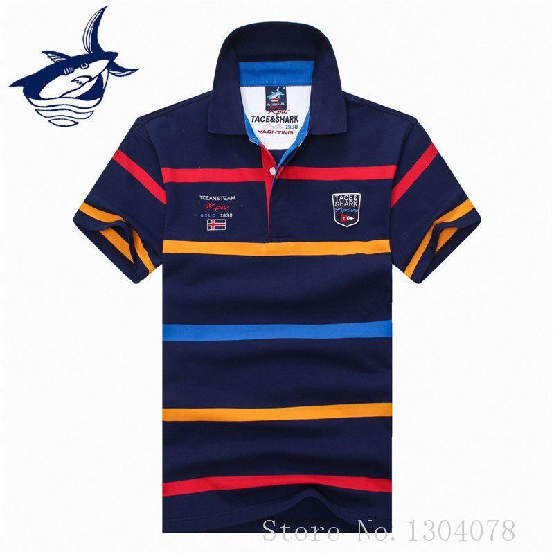 2017 neue marke clothing tace shirts baumwolle atmungsaktiv gestreiften shark männer polo hemd camisa masculino c19041501
