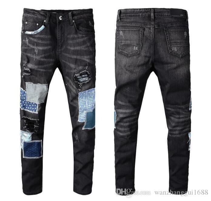 Yeni Stil Moda Erkek Düz Slim Fit Biker Kot Pantolon Sıkıntılı Skinny Denim Jeans Hiphop Pantolon 438 Yıkanmış Tahrip yırtık