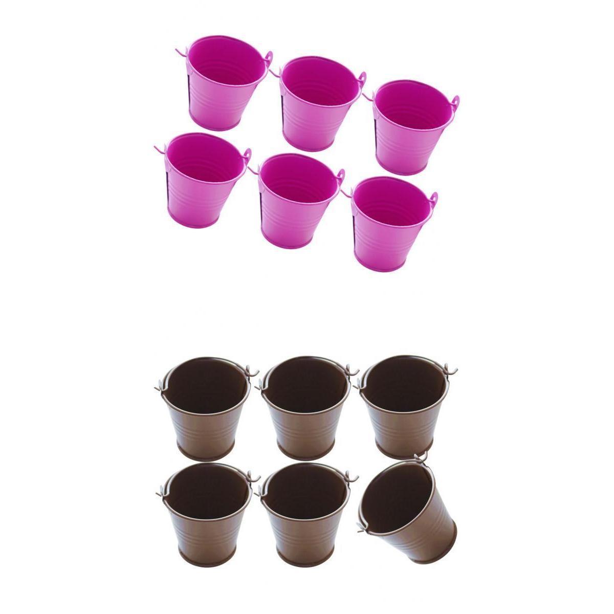 6 × 6 × 6.5CM معدنية صغيرة Buckets- 12 Pieces- دلو للزهور حلوى حلوى، عظيم لالحسنات الحزب، اكسسوارات الحزب والديكور