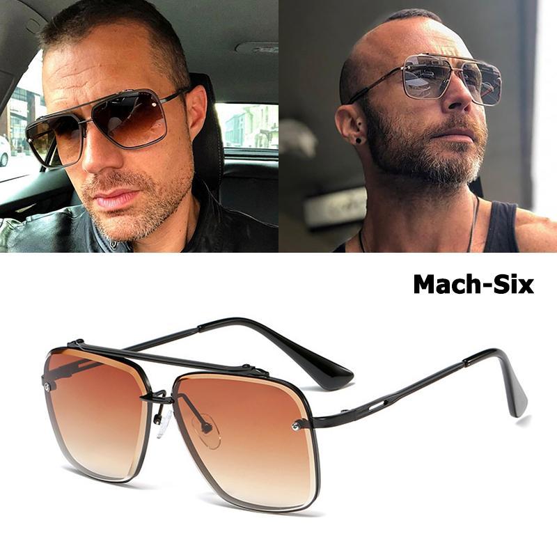 2020 패션 클래식 마하 식스 스타일 그라데이션 선글라스는 남성 빈티지 디자인 태양 안경 쿨