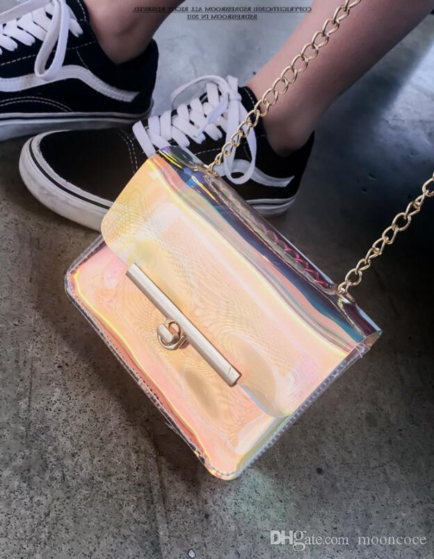 Luxusmode-Laser-Hand Holographic beiläufige Tote Klar Messenger Bag PVC-Sommer-Frauen Zipfel