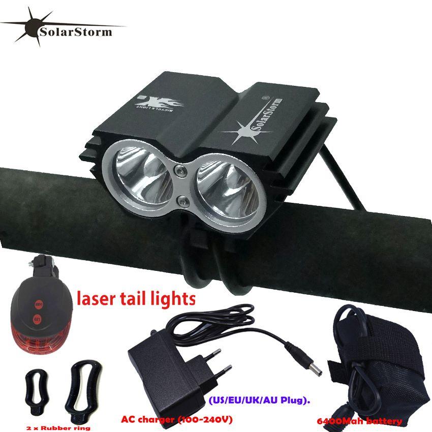 Мощная светодиодная лампа X2 XM-L T6 LED аккумуляторная водонепроницаемая 5000 люмен легкий черный велосипед горный велосипед + задний свет + зарядное устройство B