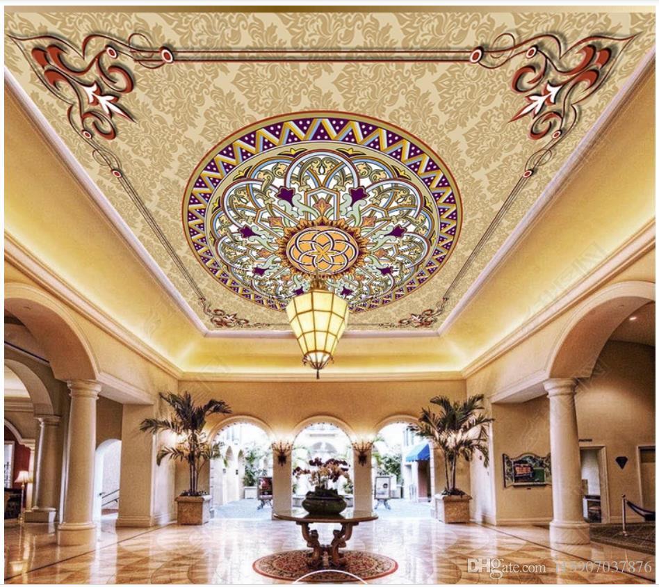 Индивидуальные большие 3D фото обои 3D потолочные фрески обои Европейский узор гостиная спальня Зенит росписи потолка обои