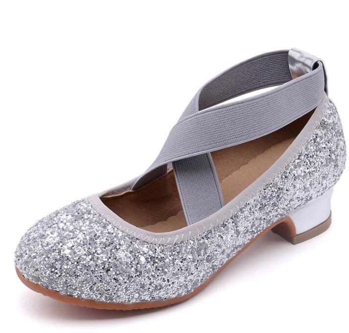 Girls Adorable Ballerina Dancing Shoes Rubber Sole Mary Jane Rhinestone Glitter Formal Dress Low Heel Pumps