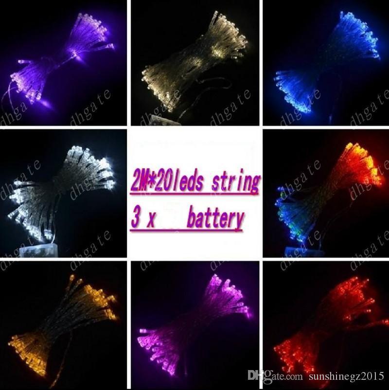 2M 20LED струны Мини Fairy Lights Питание от батареи Белый Теплый Белый Синий Желтый Зеленый Фиолетовый Рождественские украшения огни
