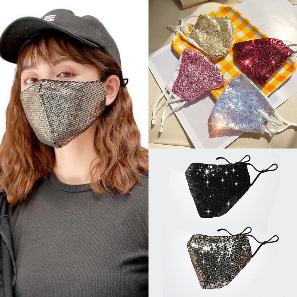 Paillettes mascherina mascherine Bling Bling Viso Adulti Bambini dell'orecchio maschere Loop riutilizzabile lavabile paillettes luccicanti della polvere viso copertura OOA8285