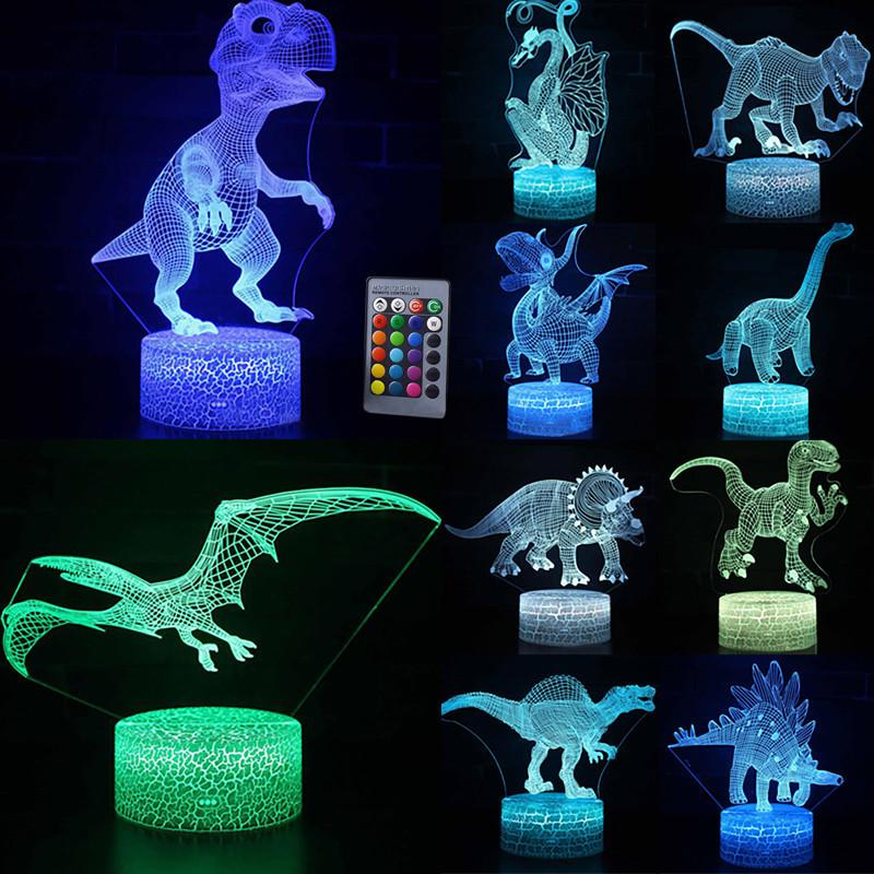 Control táctil remoto 3D LED luz de la noche serie de dinosaurios 7 16 cambio de color LED mesa lámpara de escritorio niños regalo de Navidad decoración del hogar