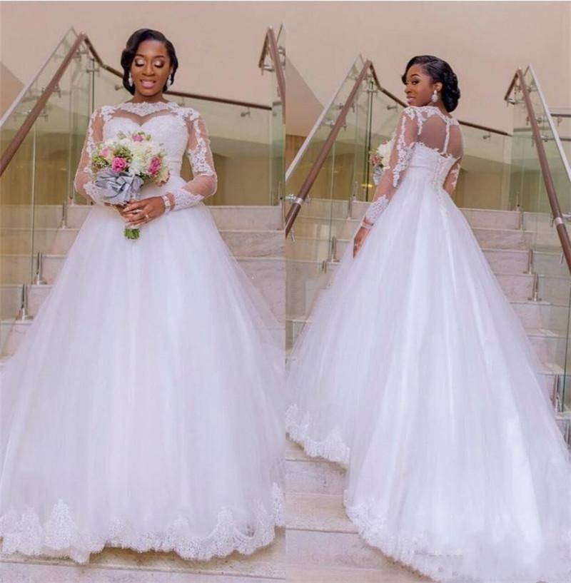 Modest afrikanische Spitze Brautkleider mit langen Ärmeln Applikationen Lace-Up Garten Arabisch Brautkleider Sweep Zug Vestidos