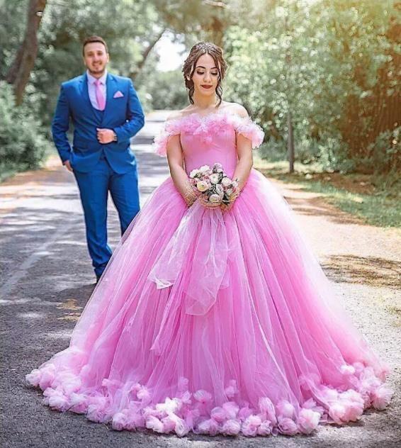 가나 핑크 공주 Tulle Shoulder Wedding Dress 떨어져 중동 신데렐라 공 가운 웨딩 드레스