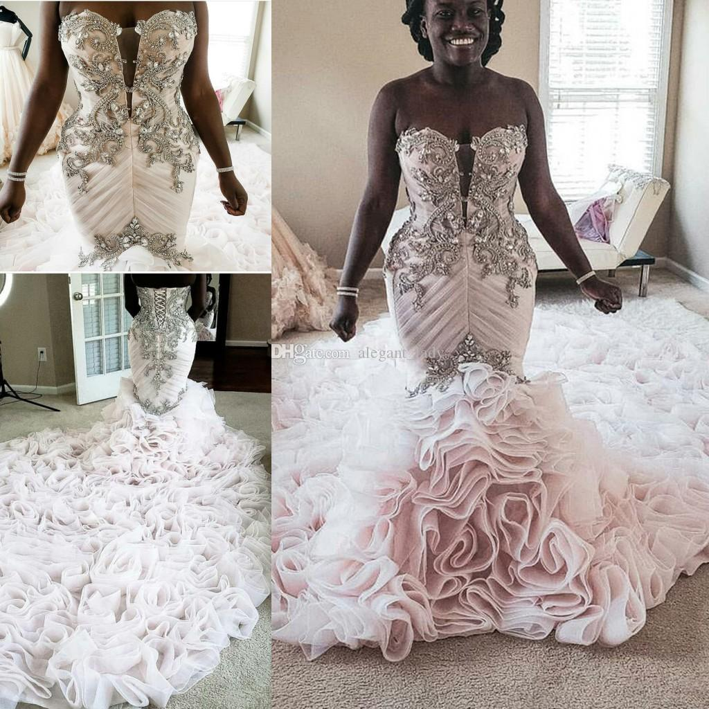 Cascading Ruffles Crystal Mermaid Wedding Dresses 2020 Plus Size Sweetheart Lace-up Corset African Sparkly Church Wedding Gown