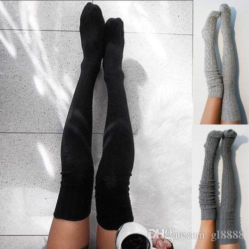 Kadınların Kış Sıcak Diz Üstü Yüksek Tayt Çoraplar Uzun Pamuklu Tayt Uyluk Çorap
