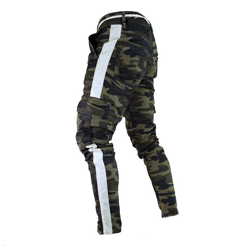 Nun Military Arbeit Fracht Camo Kampf Plus Size Pant Seitenstreifen Hip Pop-Stil Street Männer Hose-beiläufige Tarnung Streetw T191021