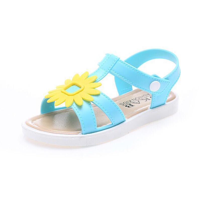 Girls Princess Candy Color Beach Sandals Kids Summer Flower Sandals Shoes Children Hook & Loop Sandals Size 21-35