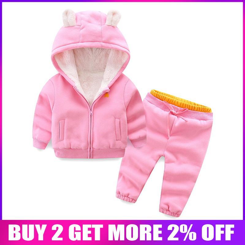 roupas de inverno meninas outono definir crianças quente casaco + calças 2pcs traje treino menina para meninos do esporte dos miúdos ocasional ternos vekvet grossa roupas