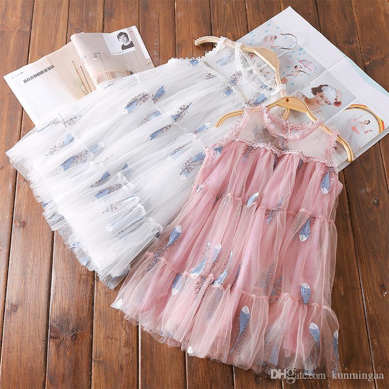 2019 verano nueva pantalla de seda de brote para niños grandes versión coreana del lindo vestido de princesa de niña de manga de muñeca de cintura alta