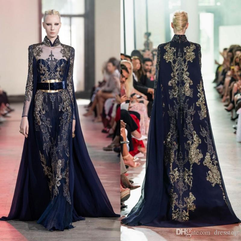 2020 Elie Saab Prom Dresses with Wrap Long Sleeves Lace Sequined Sweep Train Elegant Evening Formal Dress Custom Made