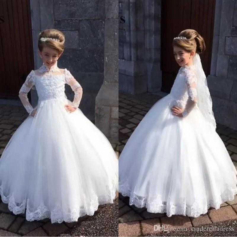 Bianco Princess Ball Ball Gown Kids TUTU Flower Girl Abiti manica lunga Festa Prom Princess Damigella cerimonia nuziale occasione formale Dres