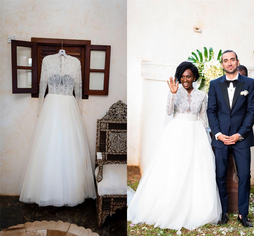 Eleganti maniche lunghe in pizzo A-Line Abito da sposa Vintage V Neck Tulle Plus Size Bridal Gown con treno Sweeo