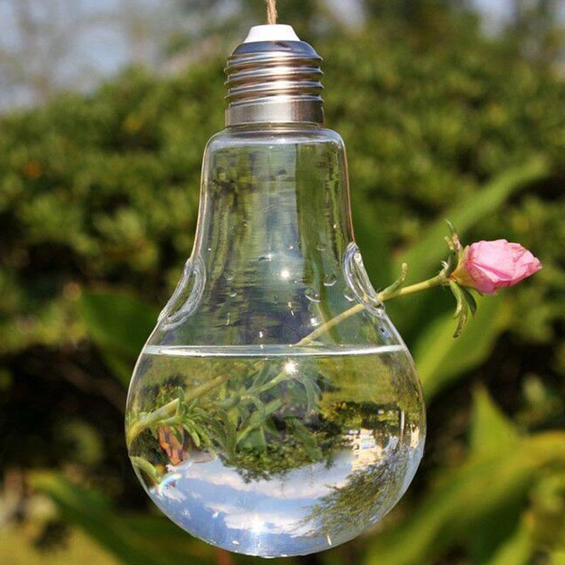 Transparent Glass Bulb Lamp Shape Clear Hanging Vase Micro Landscape Flower Plants Terrarium Container DIY Home Wedding Decor