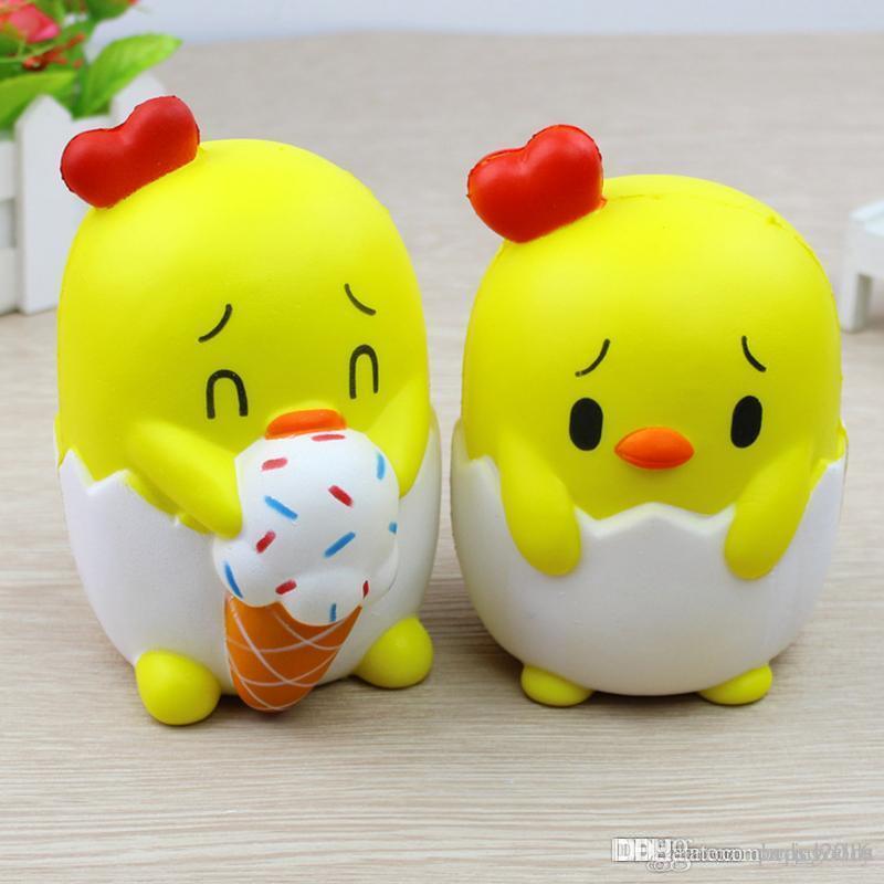 Karikatür Civciv Dondurma Yiyin Squishy Sevimli 13 cm Jumbo Yavaş Yükselen Telefonu Sapanlar Karikatür Kolye Kokulu Ekmek Çocuklar Eğlenceli Oyuncak Hediye