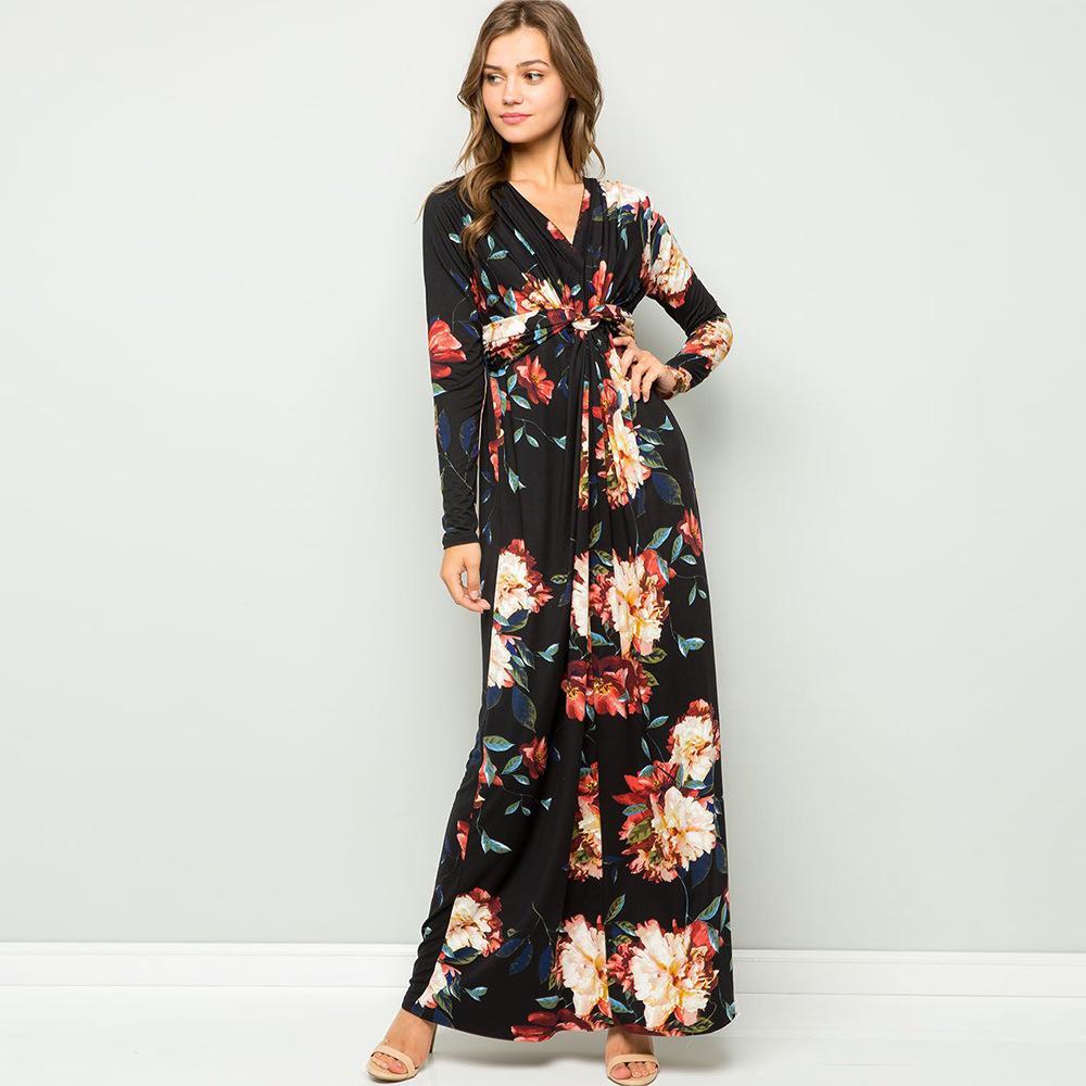 Kadın Çiçek Baskılı Elbise Moda Bohem Stili Uzun Kollu Elbiseler Seksi V Yaka Bölünmüş Elbise Dişiler Giyim