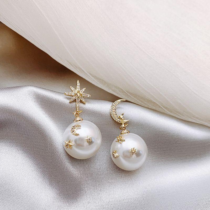 Pendientes perla HF JEL de oro de las mujeres estrella de la luna Asimetría 925 plata de ley Pin Pendientes Aretes De Mujer 2019