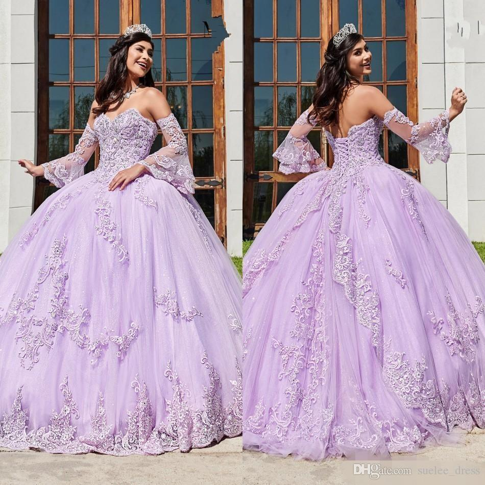 2020 New Lilla Quinceanera Abiti Sweetheart Lace Applique Corsetto Back Tulle Satin Pageant Long Juliet Manica Sweet 16 Party Ball Gown