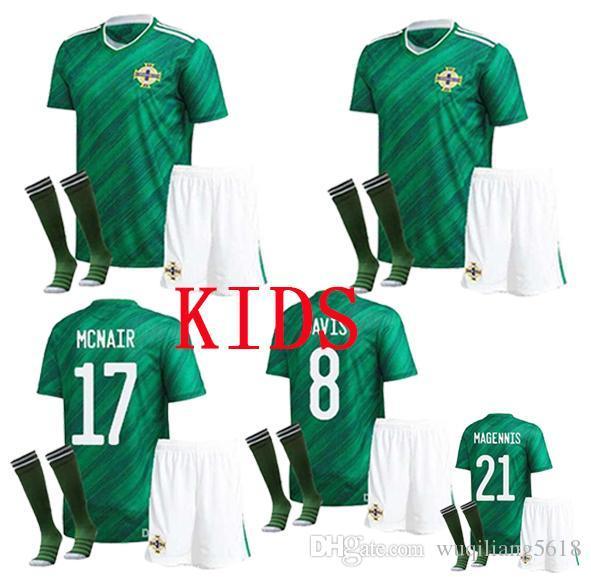 Crianças kit 2020 Irlanda do Norte Soccer Jersey casa EVANS LEWIS SAVILLE camisas de futebol camisa crianças Fardas
