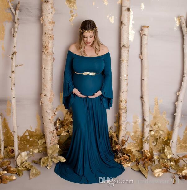 Simple del hombro de maternidad vestidos de boda Imperio blanco suave gasa Off vestidos de novia más el tamaño de vestido para el vestido de la mujer embarazada 1359