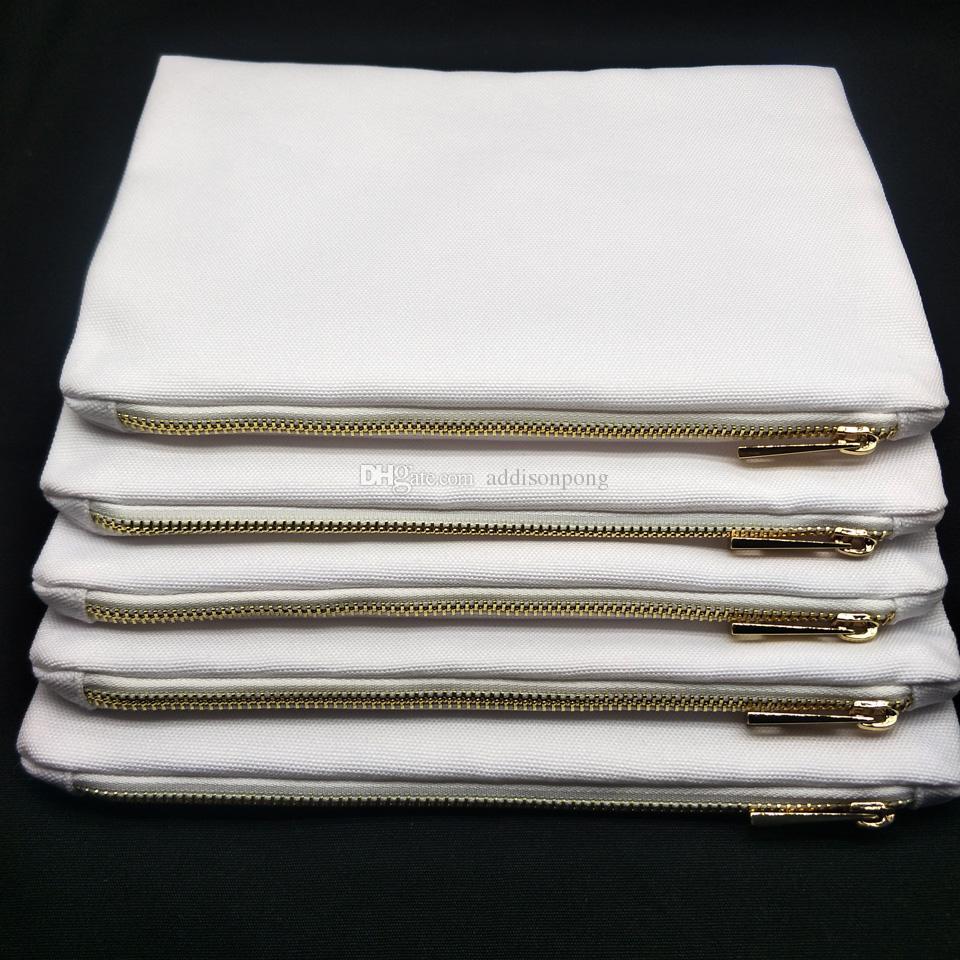 1 PZ Poly Blank Bianco 12oz Canvas Cosmetico Cosmetico Whtie per Stampa Borsa da damigella d'onore per il regalo Sublimation Pouch Trucco Sublima Trasferimento di calore Prin Cltl