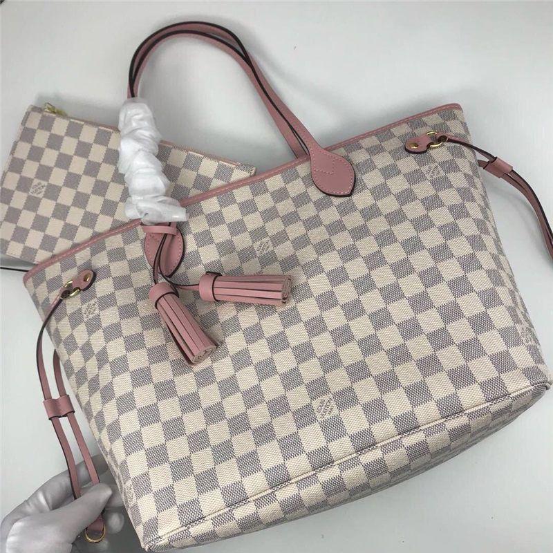 New L Letter NEVERFULL Leather Handbag White Checker Bag Top Quality Printing Purse Womens Fashion Bags Girls Shopping Bag
