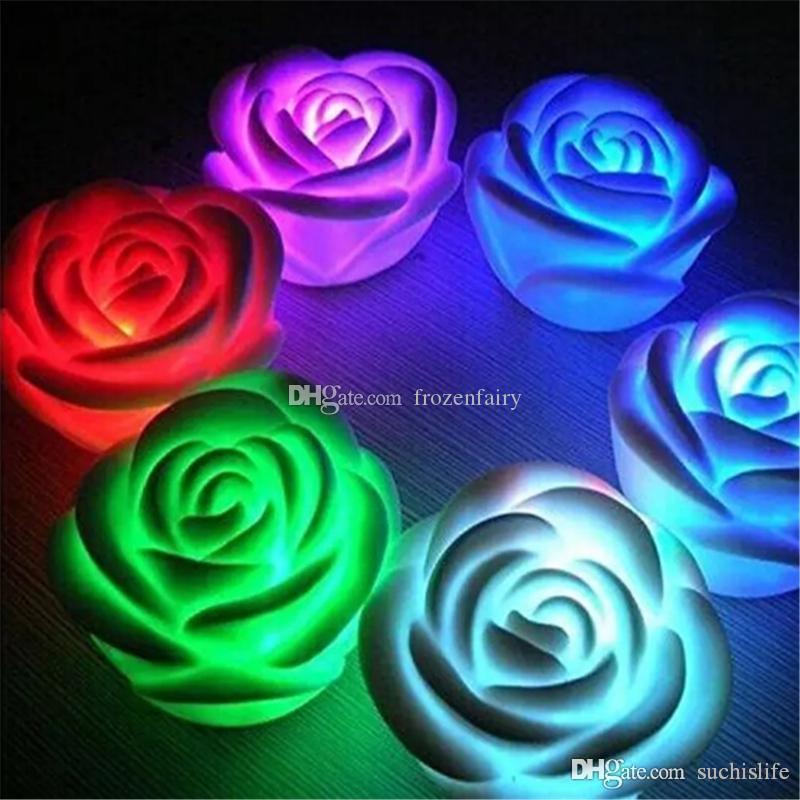 أضواء LED للتغيير اللون روز زهرة شمعة دخاني الورود عديمة اللهب الحب مصباح تضيء بطارية مجانية ديكور المنزل هدية bb738-74 2018