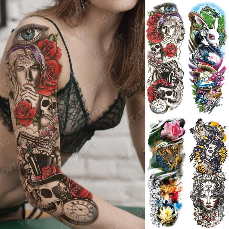 Grande Arm Sleeve Tattoo Alice In Wonderland Falso Waterproof Temporária Tatto adesivos Lobo Rose Body Art completa Tatoo Mulheres Homens