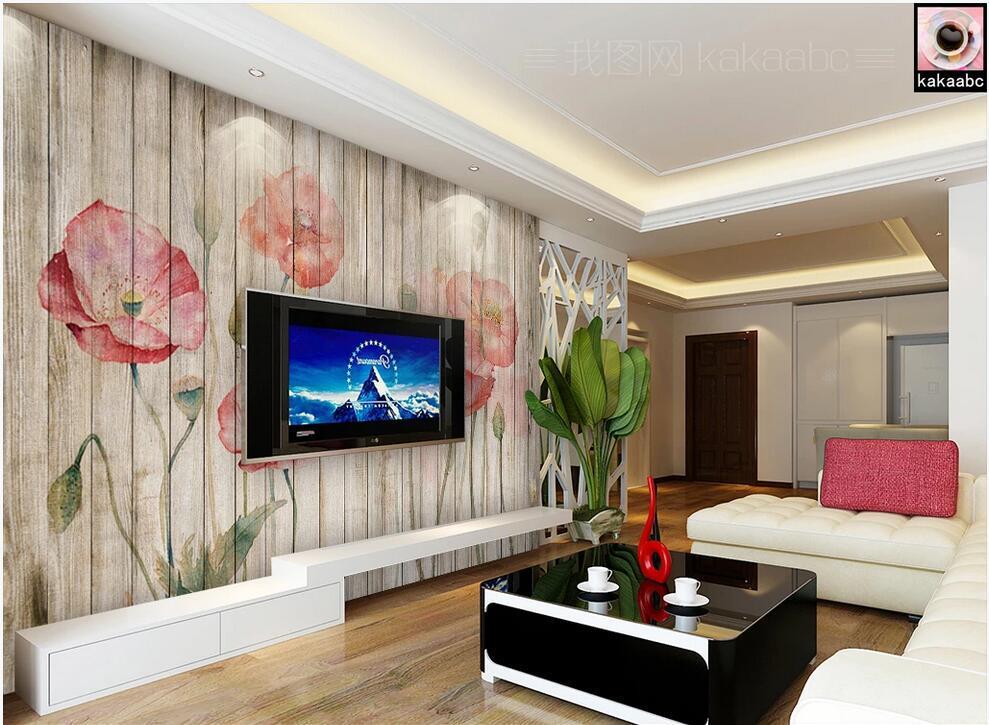 3d обои комната пользовательские фото настенная цветок мака идиллические цветы ретро деревянный фон обои стены доски ТВ для стен 3 д