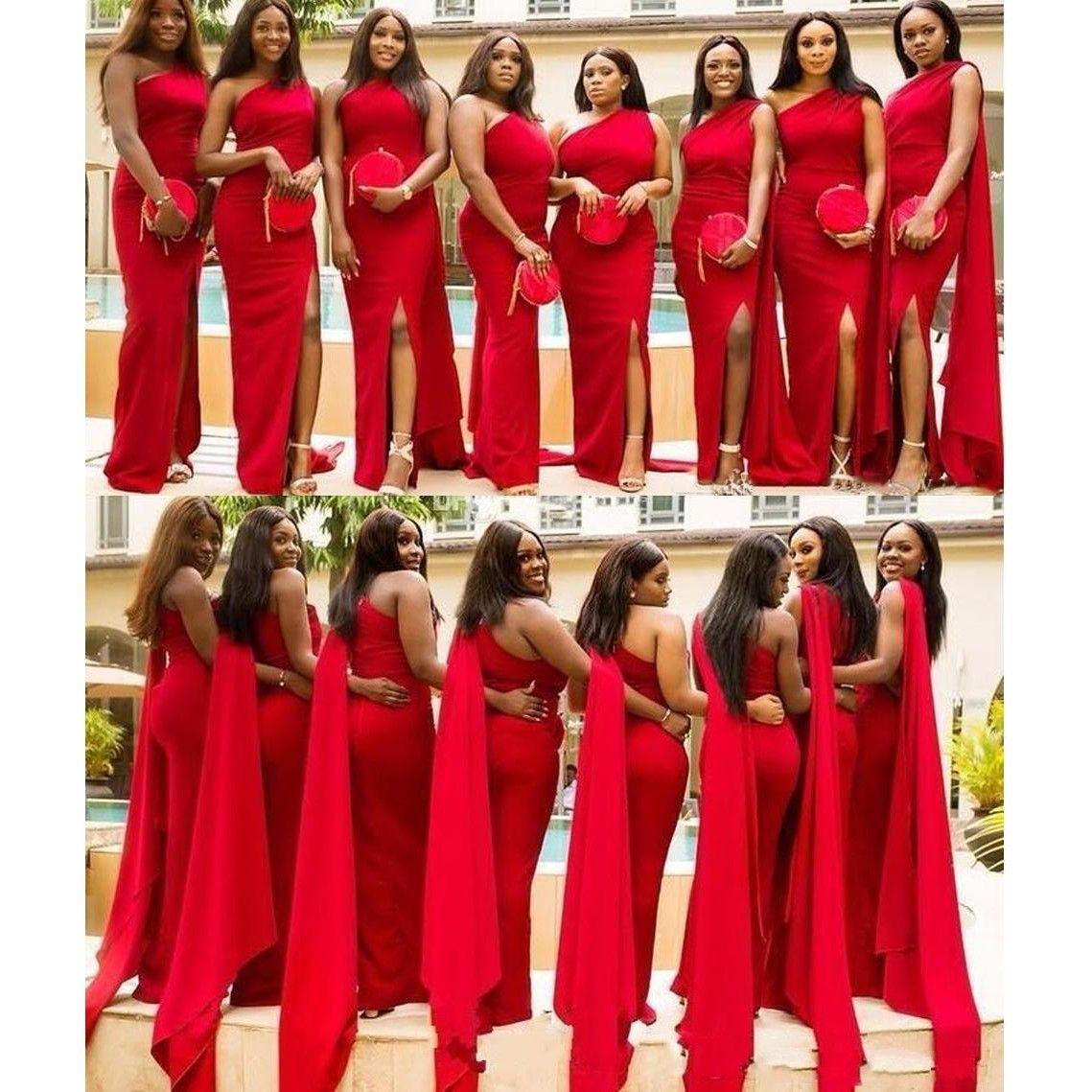 2019 Árabe Barato Sereia Vermelha Vestidos de Dama De Honra De Um Lado Do Ombro Dividir Plus Size Longo Convidado Do Casamento Vestido de Vestidos de Empregada de Honra Africano