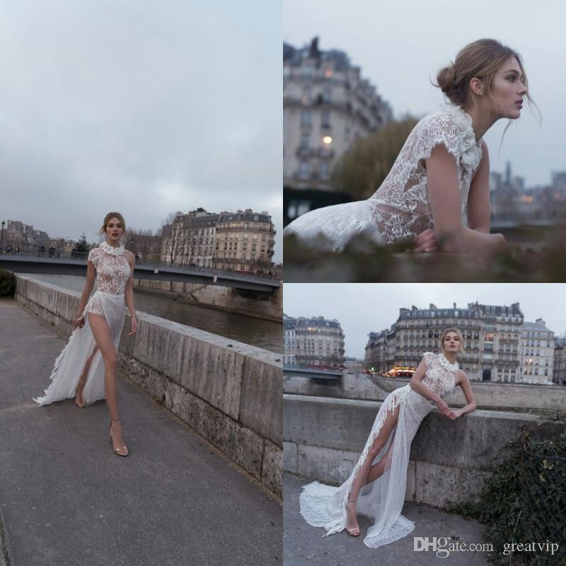 Inbal Dror 2019 Beach Wedding Dresses A Line Jewel Lace Sequins Split Sweep Train Bridal Gowns Plus Size Bohemian Robe De Mariée