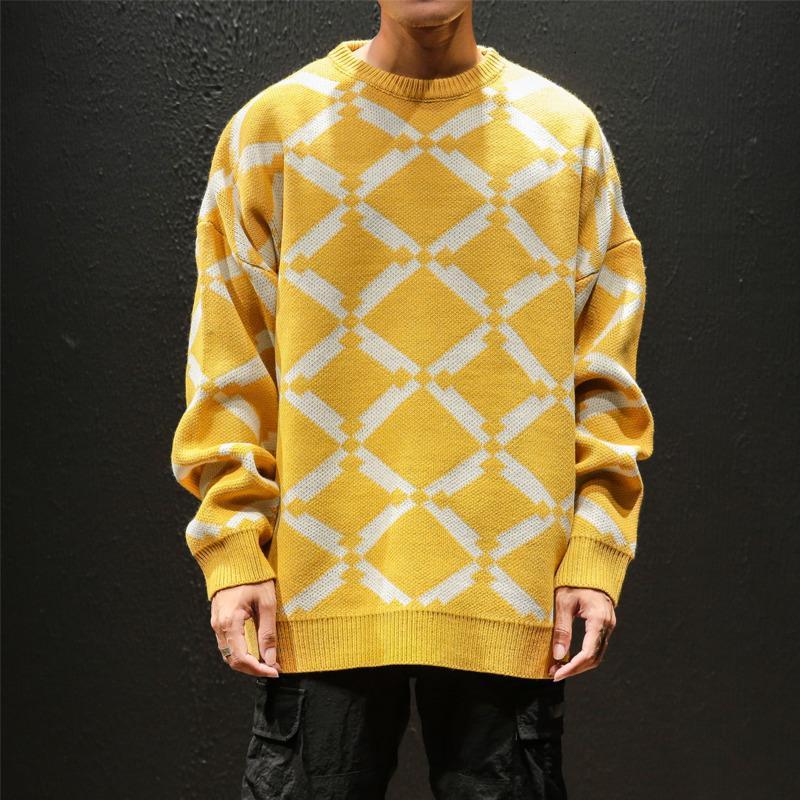 Kış Yeni Triko Erkek Sıcak Moda Kontrast Renk Casual Triko Kazak Man Vahşi Gevşek Uzun kollu Ekose Süveter erkekler SH190930
