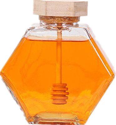 الزجاج العسل جرة ل220ML / 380ML البسيطة العسل الصغيرة زجاجة الحاويات وعاء مع ملعقة خشبية عصا EEA1353-5