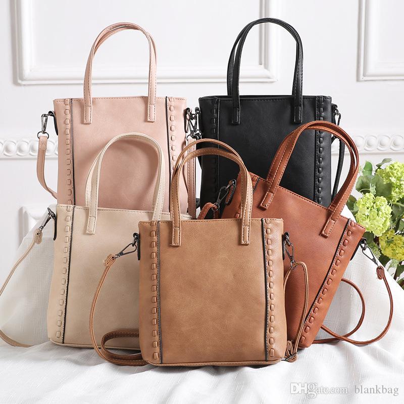 Vintage femmes sac fourre-tout en cuir à la main à tricoter simple sac à bandoulière sac solide bandoulière en cuir décontractée sac à main une épaule