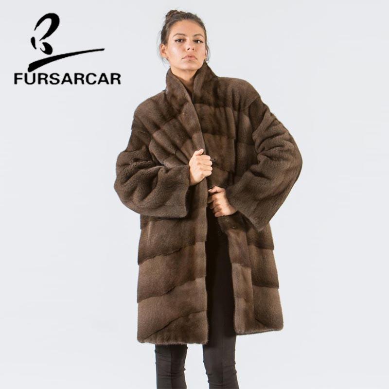 FURSARCAR 90 Escudo cm de largo Estilo de las mujeres reales de lujo de la chaqueta del color del nuevo invierno de pieles con el collar del soporte de la capa femenina